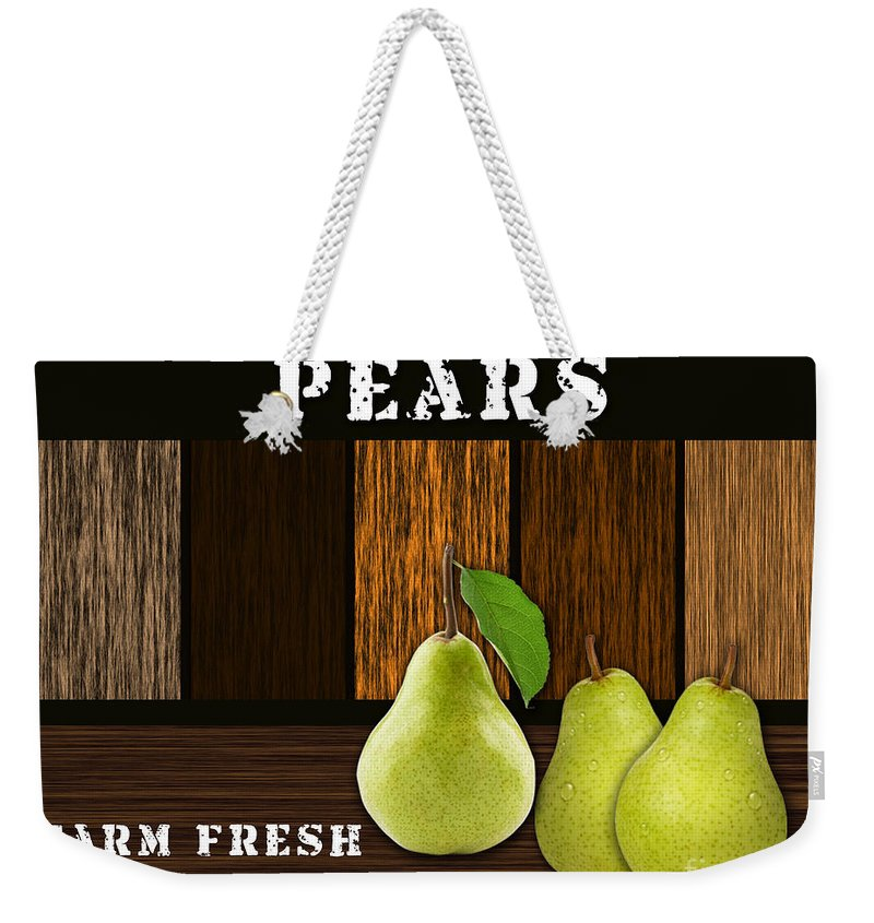 Green Pear Photographs Mixed Media Weekender Tote Bag featuring the mixed media Pear Farm by Marvin Blaine