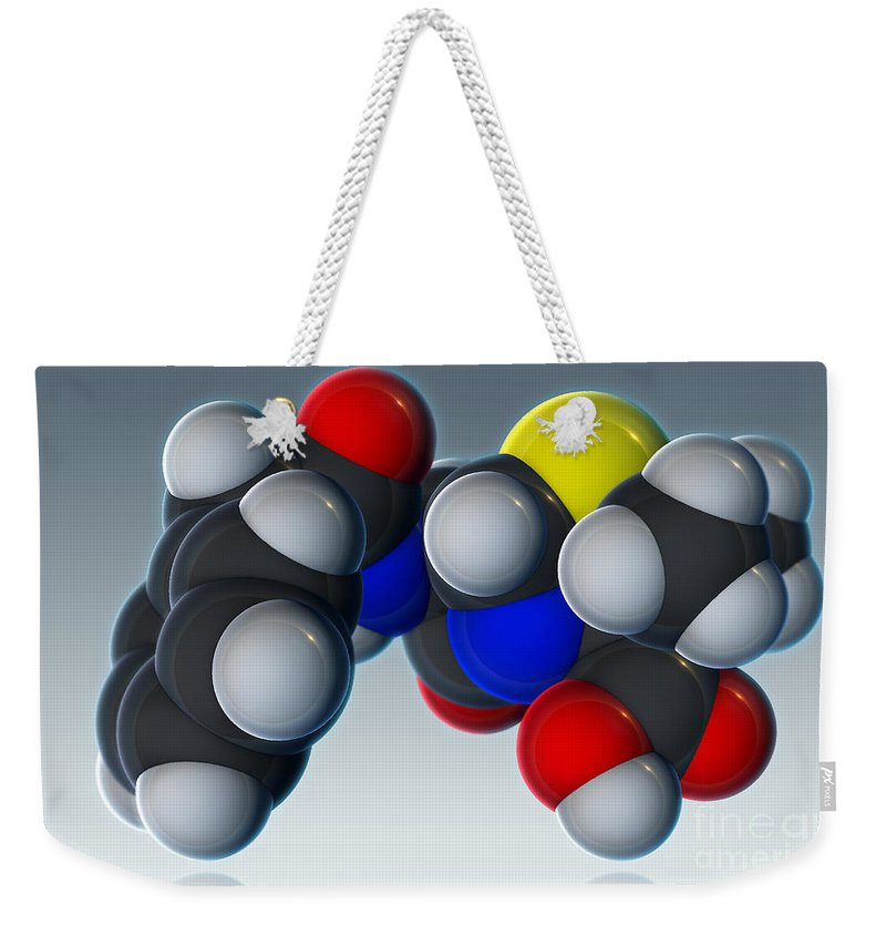3d Illustration Weekender Tote Bag featuring the photograph Penicillin V Molecular Model by Evan Oto