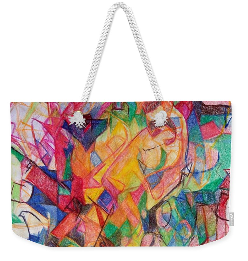 Torah Weekender Tote Bag featuring the drawing Perpetual Encounter With Providence 6 by David Baruch Wolk
