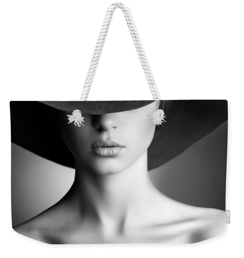 People Weekender Tote Bag featuring the photograph Photo Of Beautiful Woman In Retro Style by Coffeeandmilk
