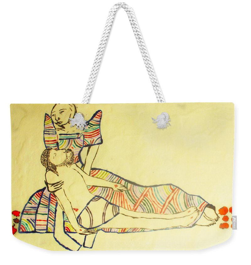 Jesus Weekender Tote Bag featuring the painting Pieta by Gloria Ssali