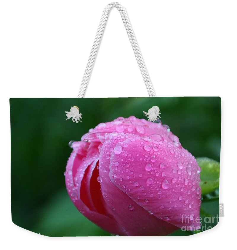 Flower Weekender Tote Bag featuring the photograph Pink Rain Drops by Susan Herber