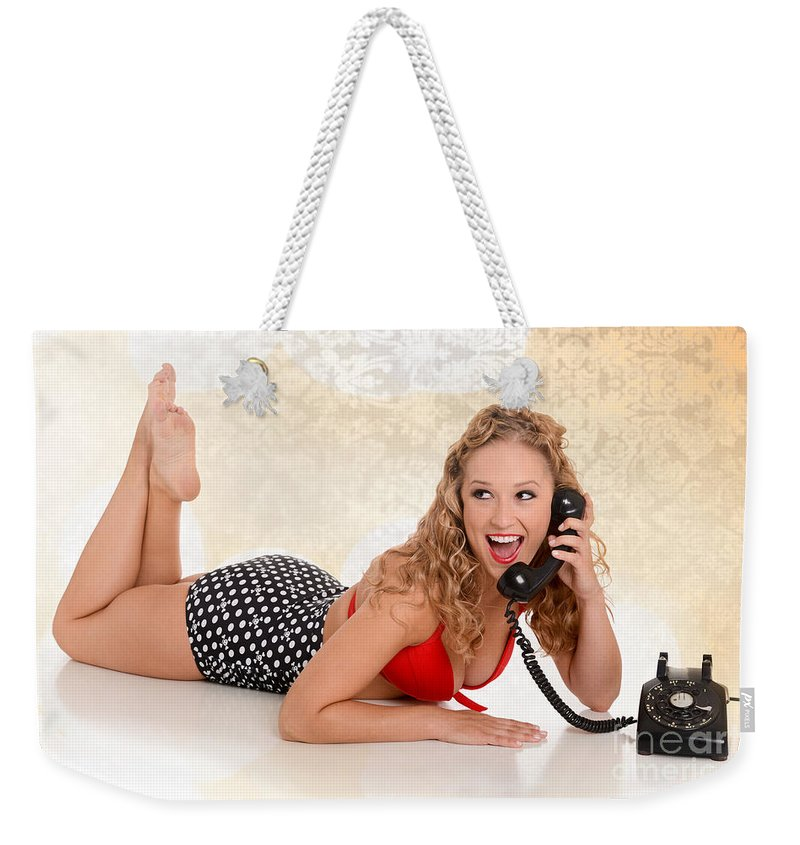 Model Weekender Tote Bag featuring the photograph Pinup Girl On The Phone by Jt PhotoDesign