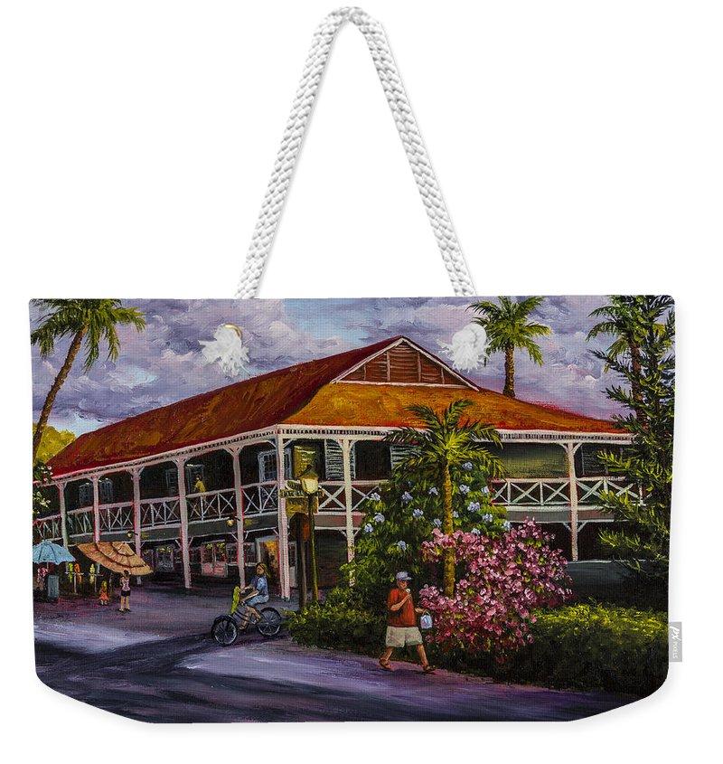 Building Weekender Tote Bag featuring the painting Pioneer Inn Lahaina by Darice Machel McGuire