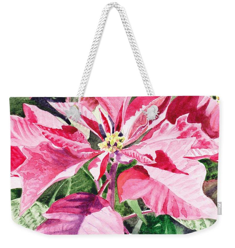 Poinsettia Weekender Tote Bag featuring the painting Poinsettia by Irina Sztukowski