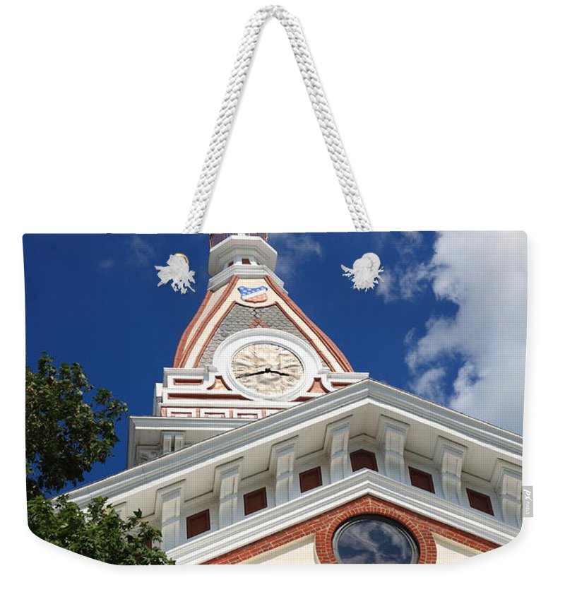 66 Weekender Tote Bag featuring the photograph Pontiac Illinois - Courthouse by Frank Romeo