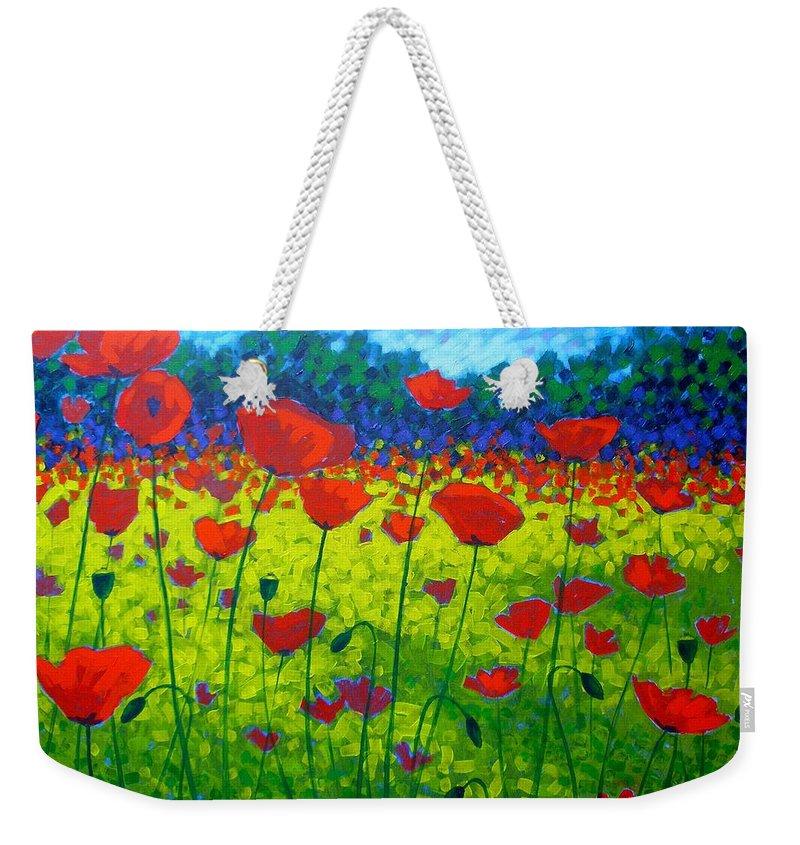 Flowers Weekender Tote Bag featuring the painting Poppy Field by John Nolan