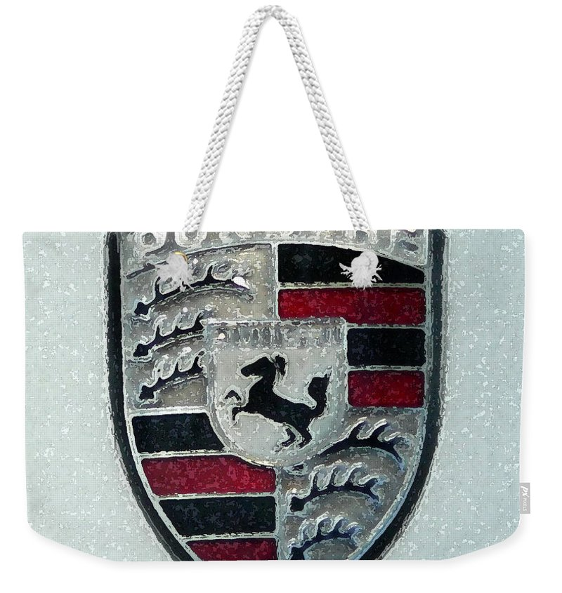 Porsche Weekender Tote Bag featuring the painting Porsche Emblem by George Pedro