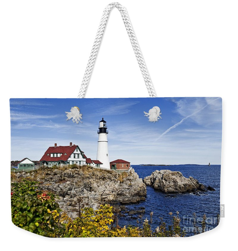 Cape Elizabeth Weekender Tote Bag featuring the photograph Portland Head Lighthouse by John Greim
