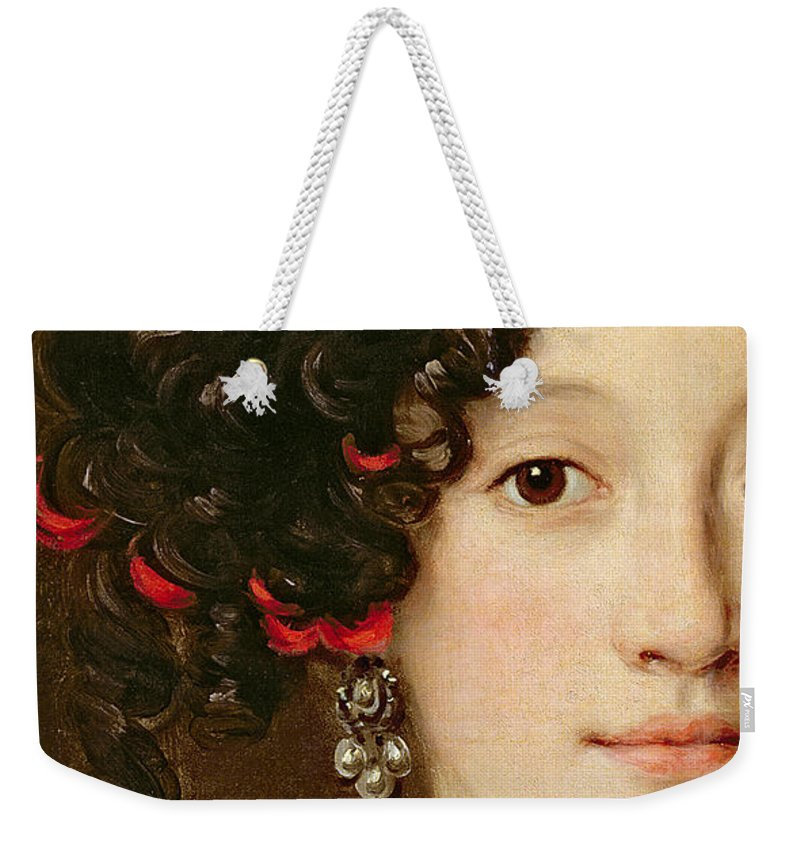 Femme Weekender Tote Bag featuring the painting Portrait Of A Woman by Jacob Ferdinand Voet