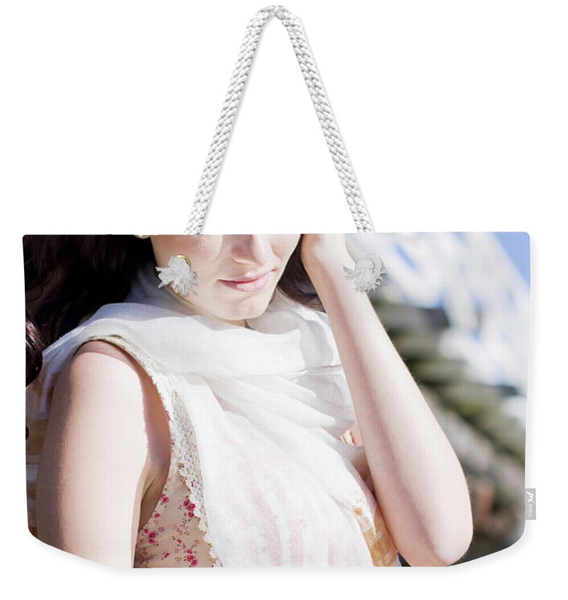 Adult Weekender Tote Bag featuring the photograph Pretty Young Fashion Model by Jorgo Photography - Wall Art Gallery
