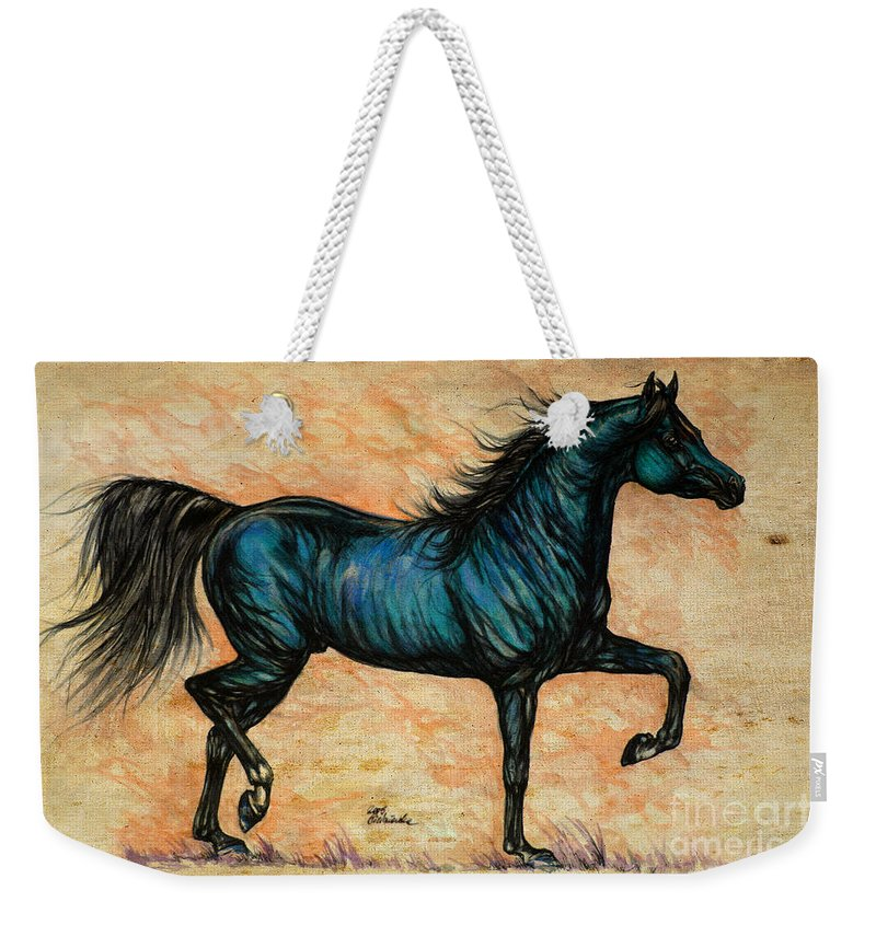Horse Weekender Tote Bag featuring the painting Psychedelic Blue by Angel Ciesniarska