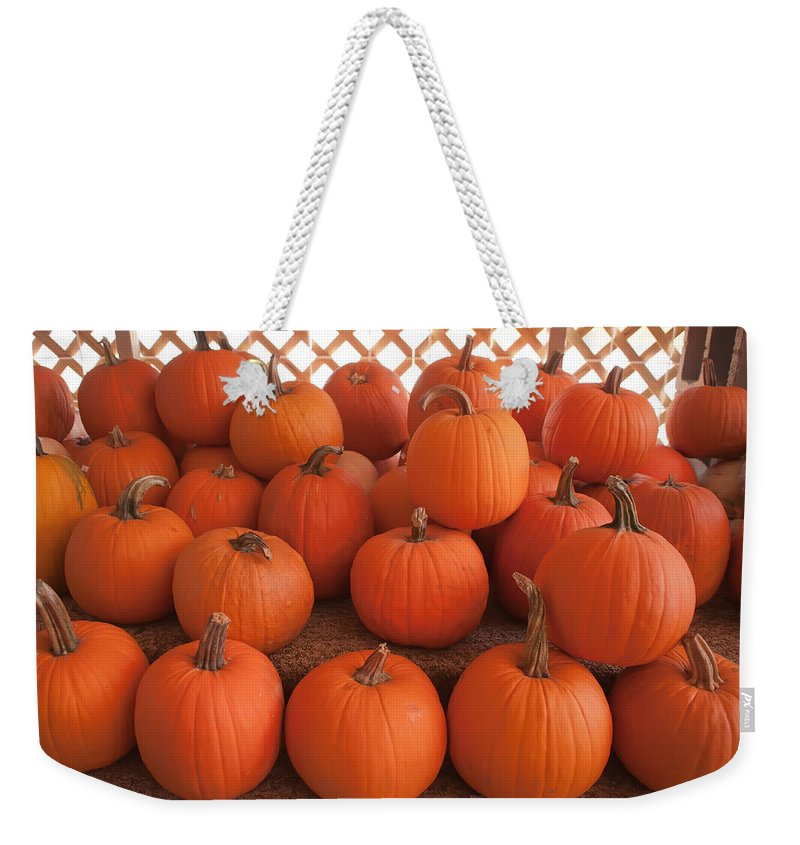 Agriculture Weekender Tote Bag featuring the photograph Pumpkins On Pumpkin Patch by Alex Grichenko