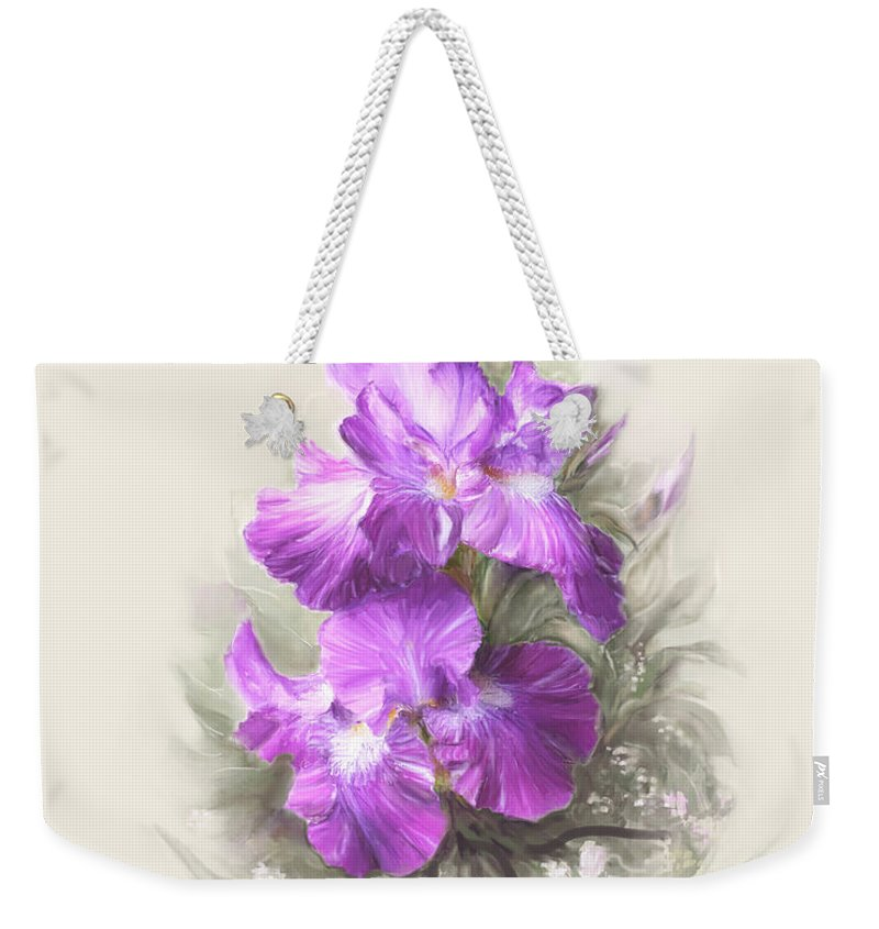 Iris Weekender Tote Bag featuring the photograph Purple Iris by Bonnie Willis