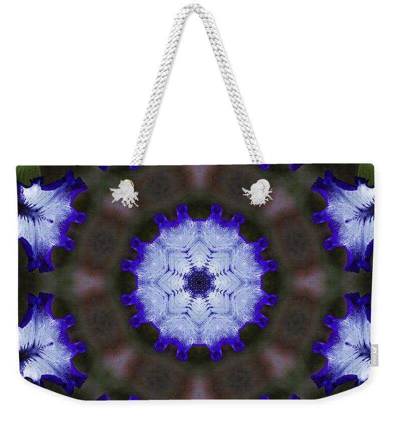 Purple Weekender Tote Bag featuring the photograph Purple Iris Kaleidoscope by Kathy Clark