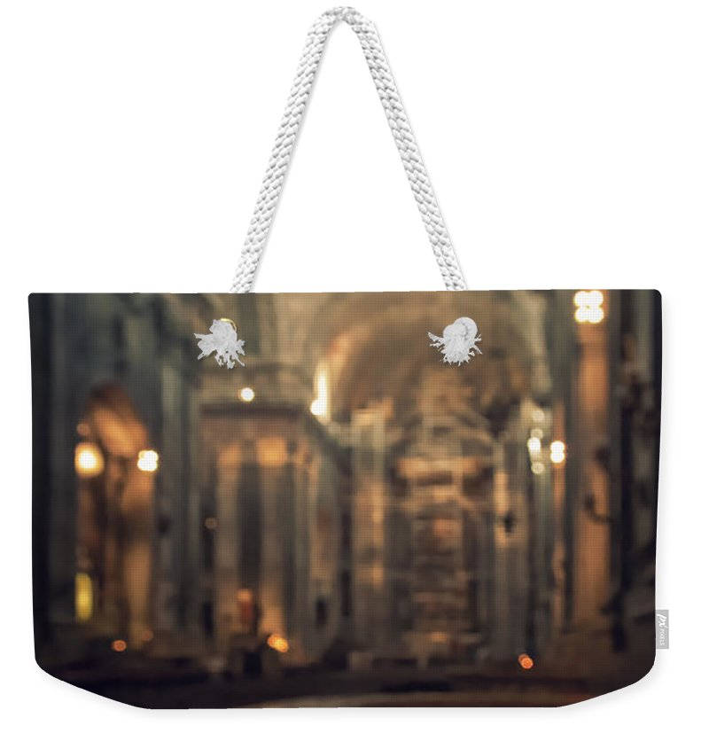Altar Weekender Tote Bag featuring the photograph Red Candles by Carlos Caetano