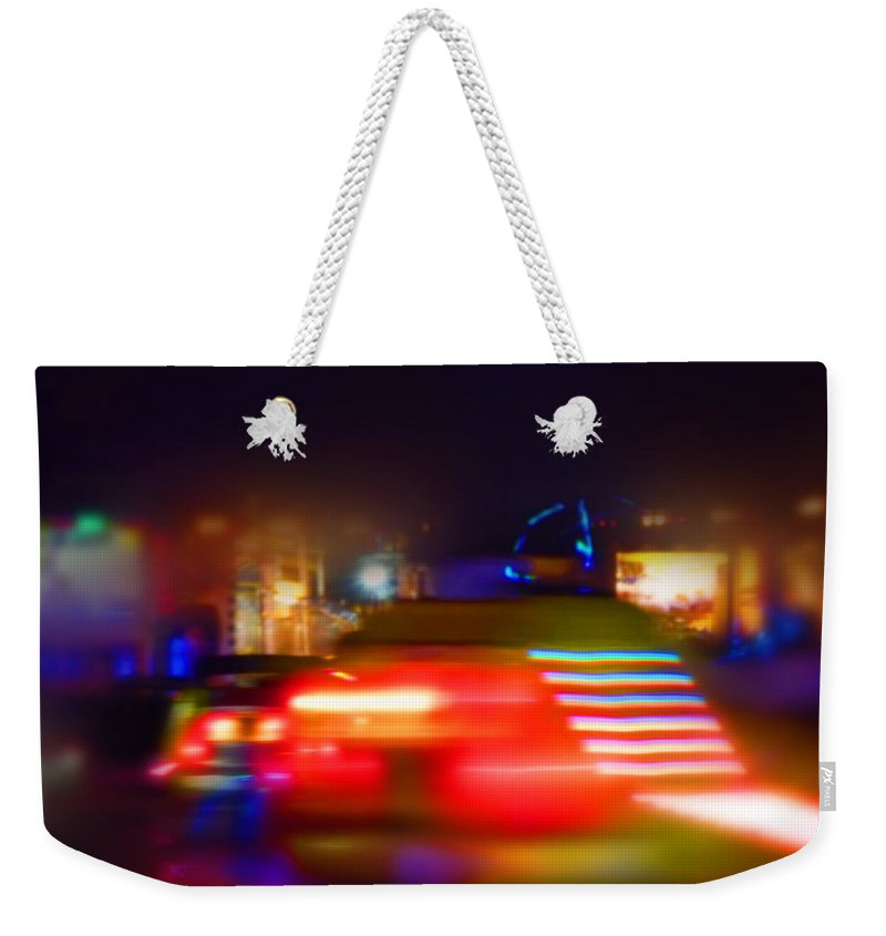 Red Weekender Tote Bag featuring the painting Red Dodgem by Charles Stuart