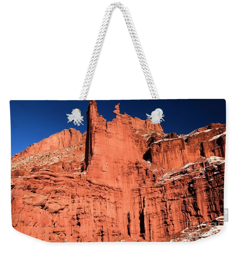 Fisher Towers Weekender Tote Bag featuring the photograph Red Rock Fisher Towers by Adam Jewell