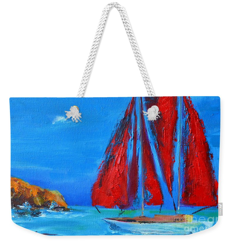Red Sails Weekender Tote Bag featuring the painting Red Sails by Patricia Awapara