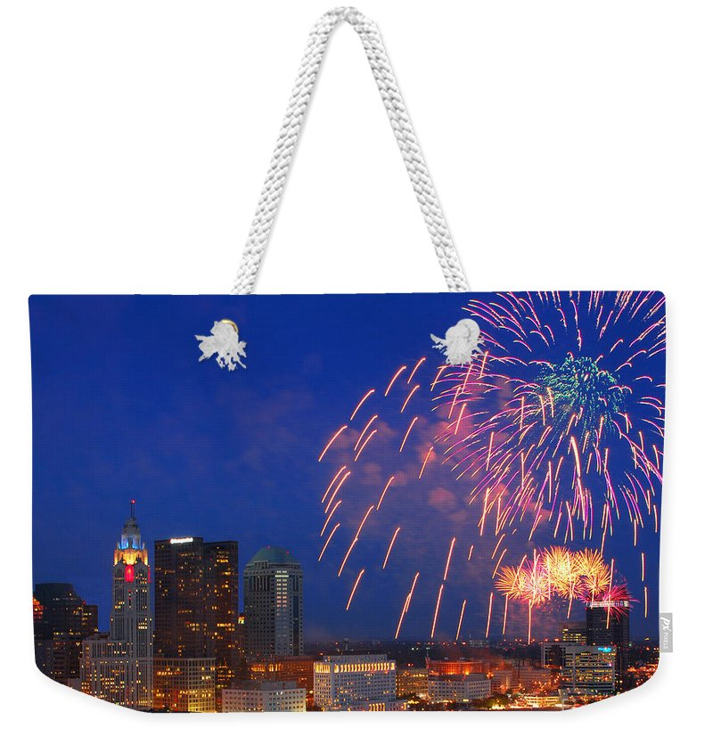 Columbus Weekender Tote Bag featuring the photograph Red White And Boom Photo by Ohio Stock Photography