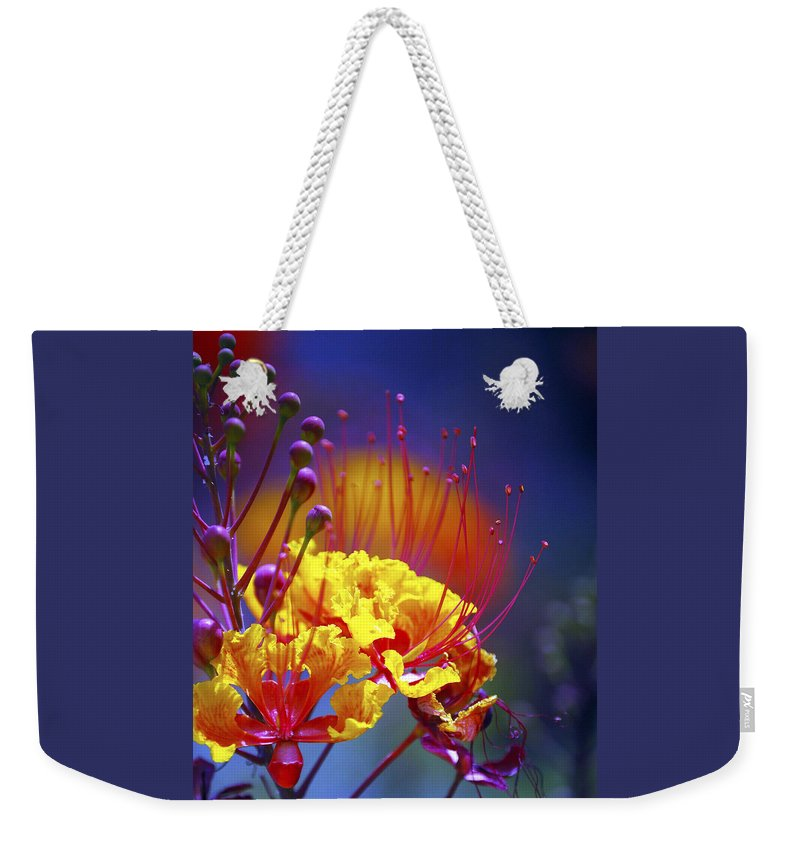 Bloom Weekender Tote Bag featuring the photograph Red Yellow Blossoms 10197 by Jerry Sodorff