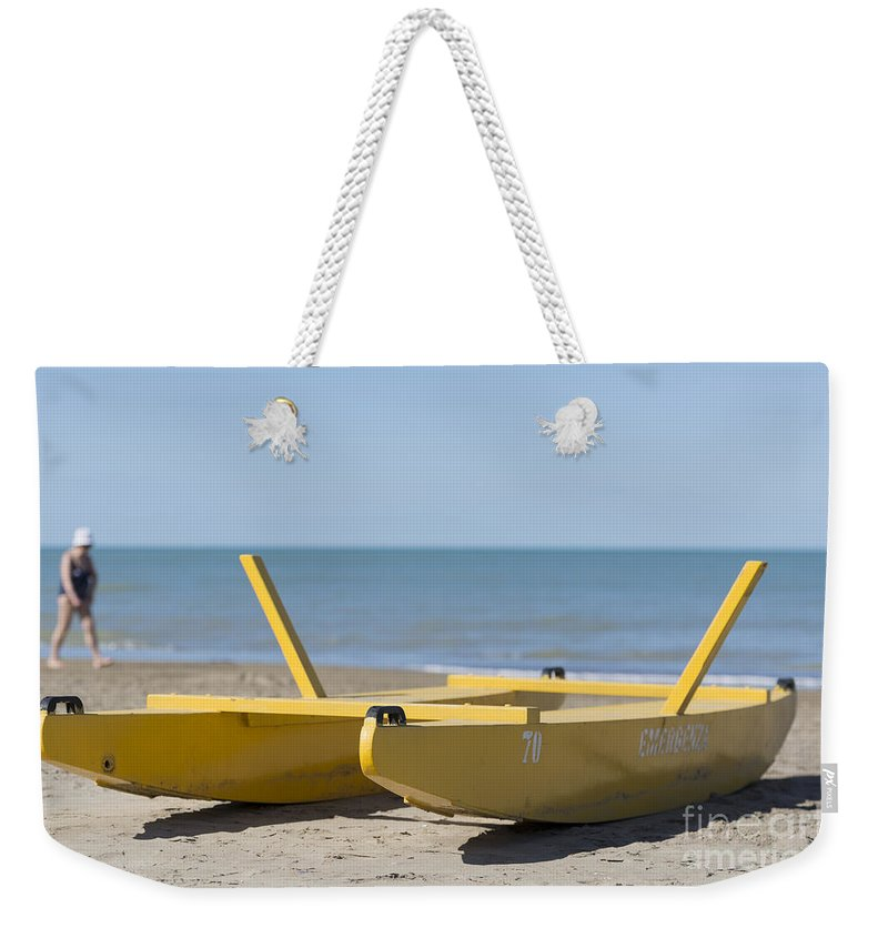 Boat Weekender Tote Bag featuring the photograph Rescue Boat by Mats Silvan
