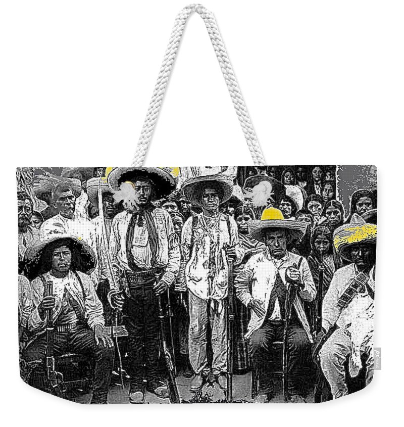 Revolutionary Soldiers Unknown Mexico Location 1914 Weekender Tote Bag featuring the photograph Revolutionary Soldiers Unknown Mexico Location 1914-2014 by David Lee Guss