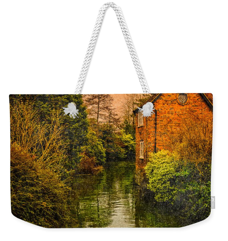 Antique Weekender Tote Bag featuring the photograph River Kennet by Mark Llewellyn