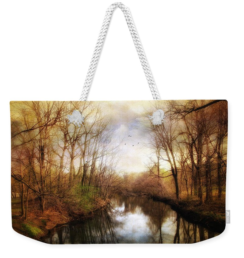 River Weekender Tote Bag featuring the photograph River Reflections by Jessica Jenney