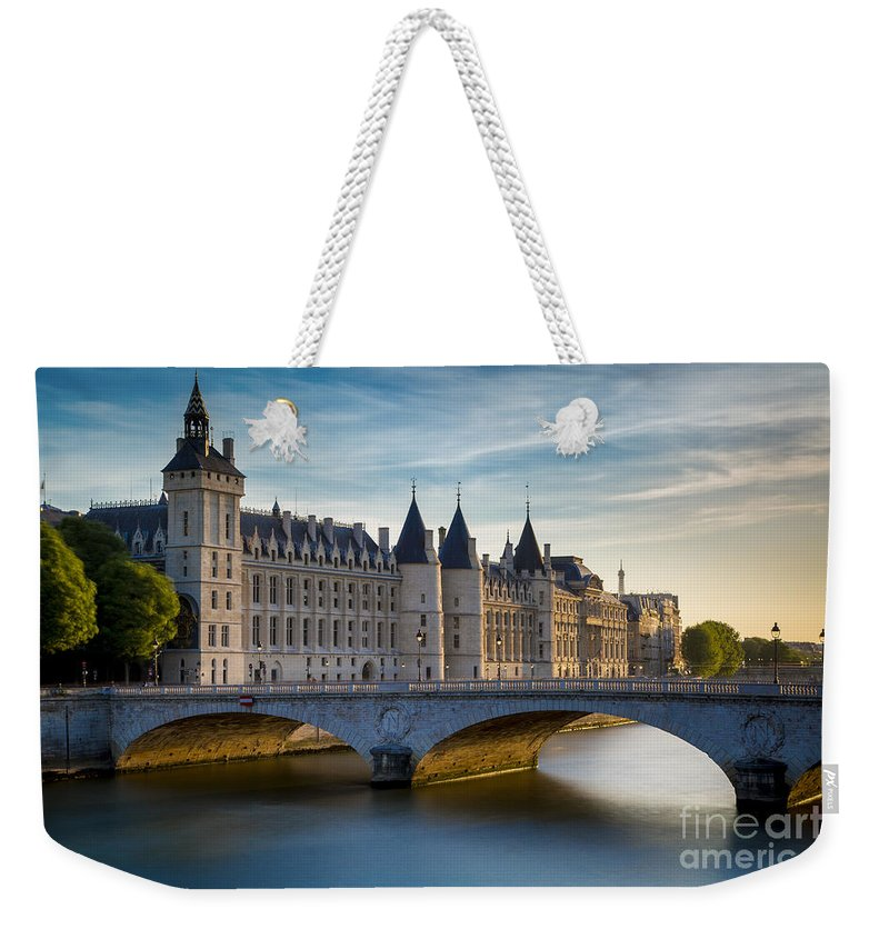 Architectural Weekender Tote Bag featuring the photograph River Seine And Conciergerie by Brian Jannsen