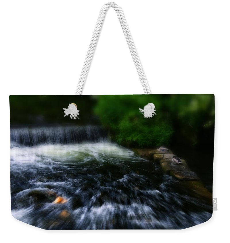 Bakewell Weekender Tote Bag featuring the photograph River Wye Waterfall - In Bakewell Peak District - England by Doc Braham