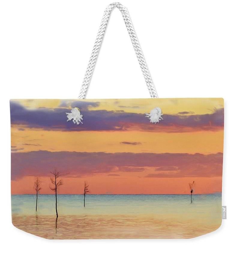 Sunset Weekender Tote Bag featuring the photograph Rock Harbor Sunset by Allen Beatty