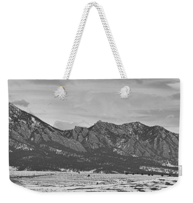 Rocky Mountains Weekender Tote Bag featuring the photograph Rocky Mountains Flatirons And Longs Peak Panorama Boulder by James BO Insogna