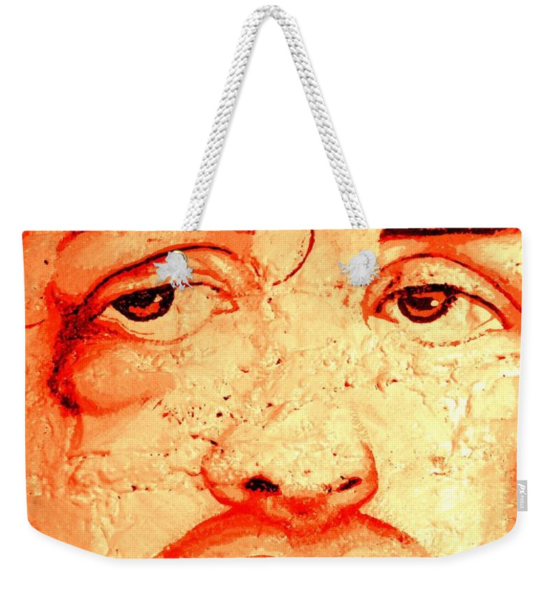 Rocky Balboa Weekender Tote Bag featuring the photograph Rocky On Wall by Ed Weidman