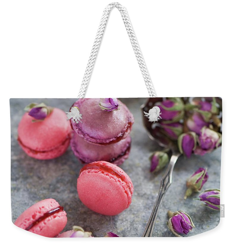 Stuffed Weekender Tote Bag featuring the photograph Rose Macarons by Verdina Anna