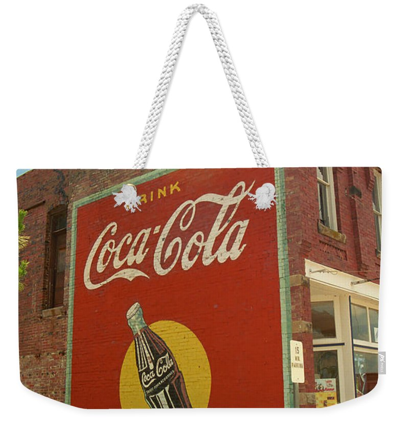 66 Weekender Tote Bag featuring the photograph Route 66 - Coca Cola Ghost Mural by Frank Romeo