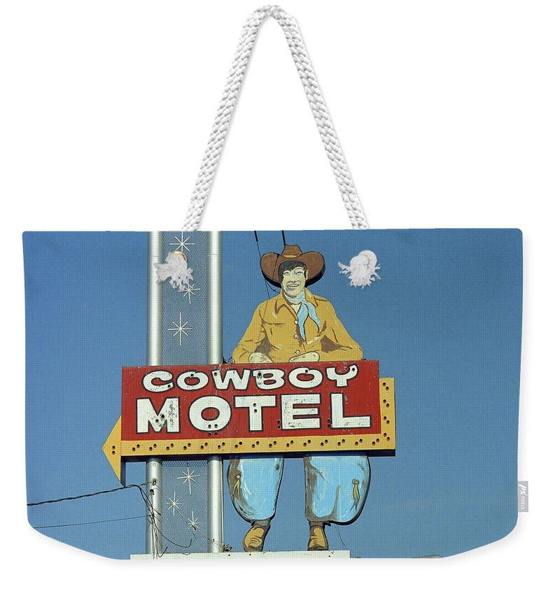 66 Weekender Tote Bag featuring the photograph Route 66 - Cowboy Motel by Frank Romeo