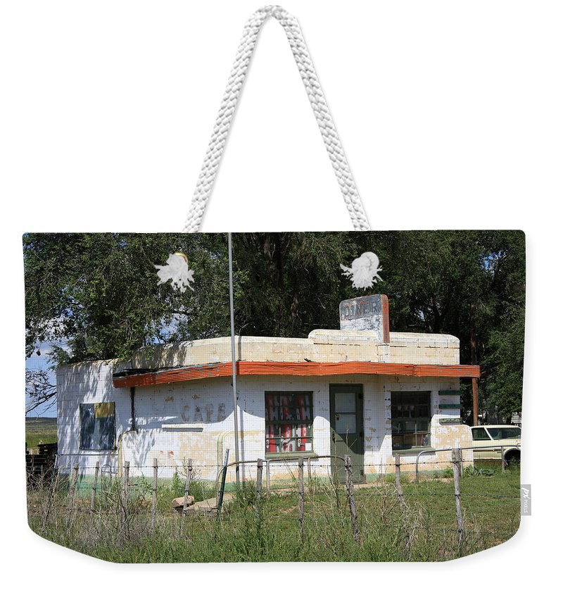66 Weekender Tote Bag featuring the photograph Route 66 Diner by Frank Romeo