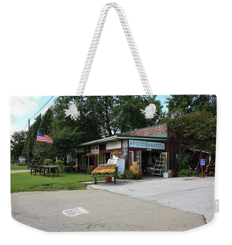 66 Weekender Tote Bag featuring the photograph Route 66 - Eisler Brothers Old Riverton Store by Frank Romeo