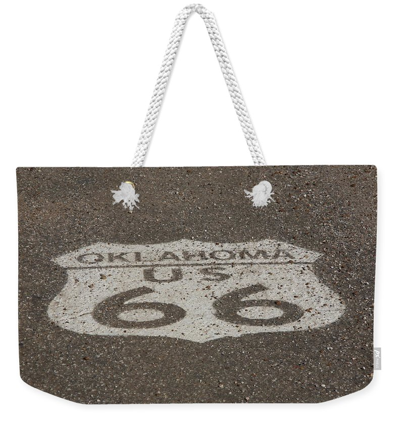 66 Weekender Tote Bag featuring the photograph Route 66 - Oklahoma Shield by Frank Romeo