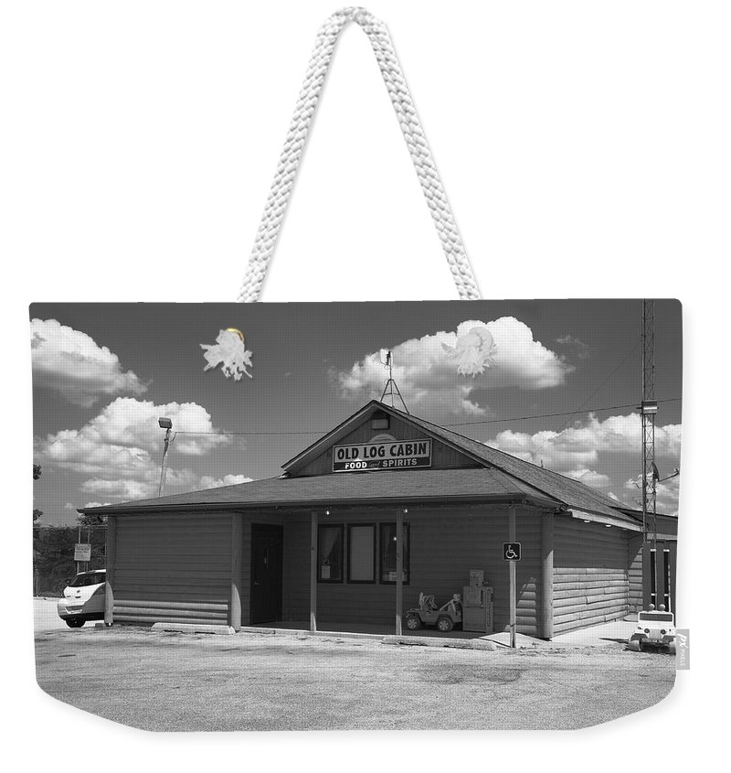 66 Weekender Tote Bag featuring the photograph Route 66 - Old Log Cabin by Frank Romeo