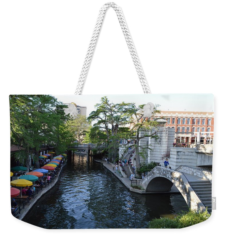 Architecture Weekender Tote Bag featuring the photograph Sa River Walk 2 by Shawn Marlow