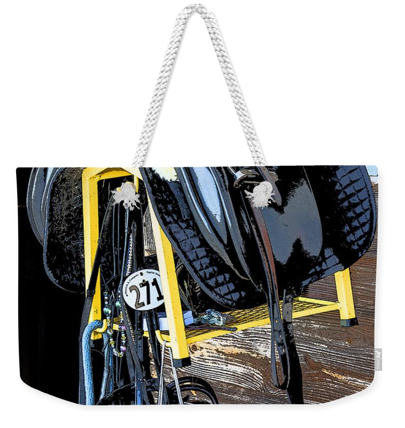 Rocking Horse Stables Weekender Tote Bag featuring the photograph Saddle Up by Rich Franco