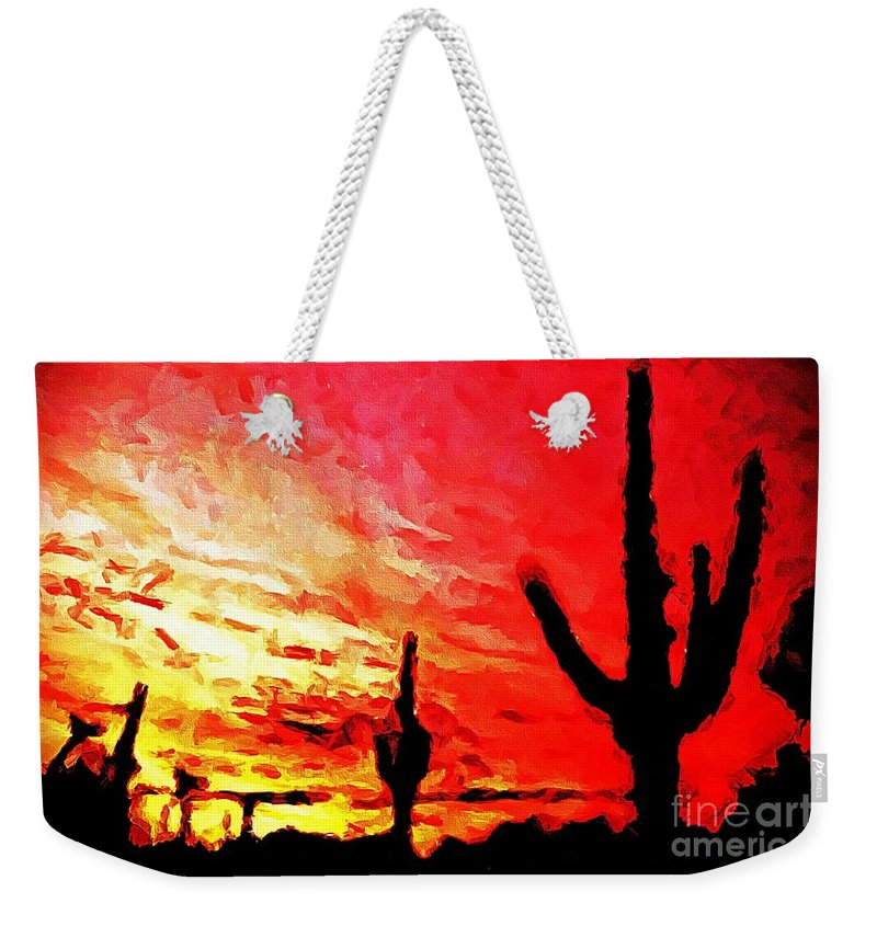 Saguaro Sunset Weekender Tote Bag featuring the photograph Saguaro Sunset by Barbara Griffin