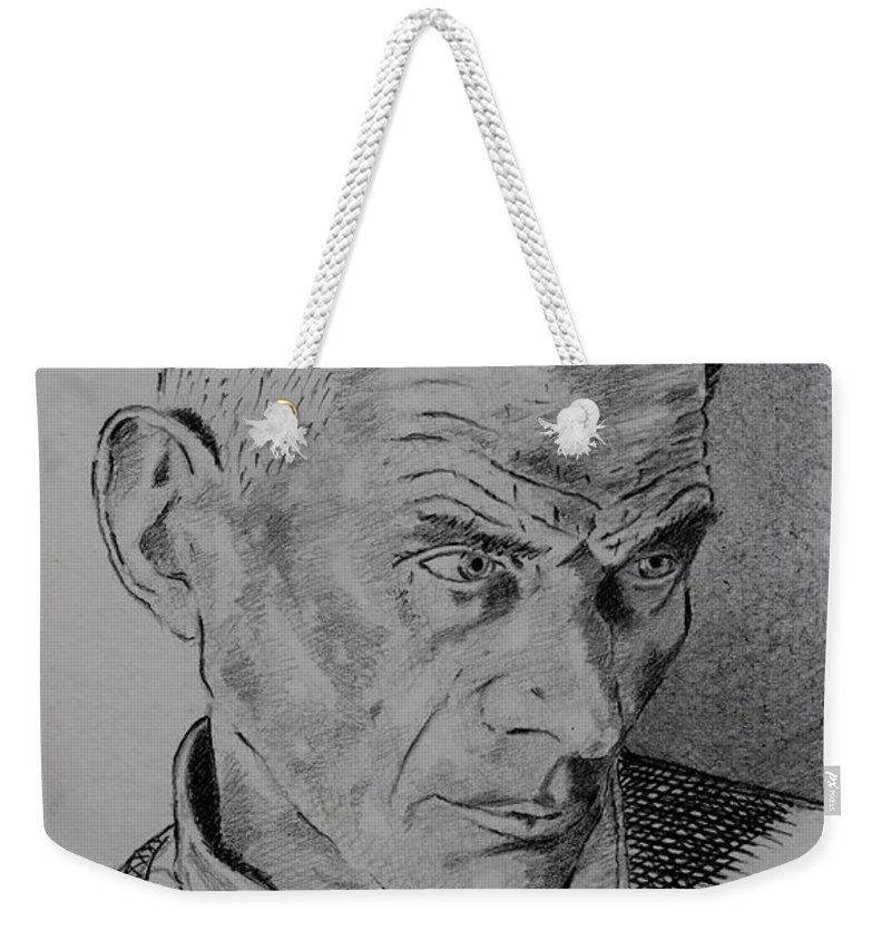 Pencil Weekender Tote Bag featuring the drawing Samuel Beckett by John Nolan