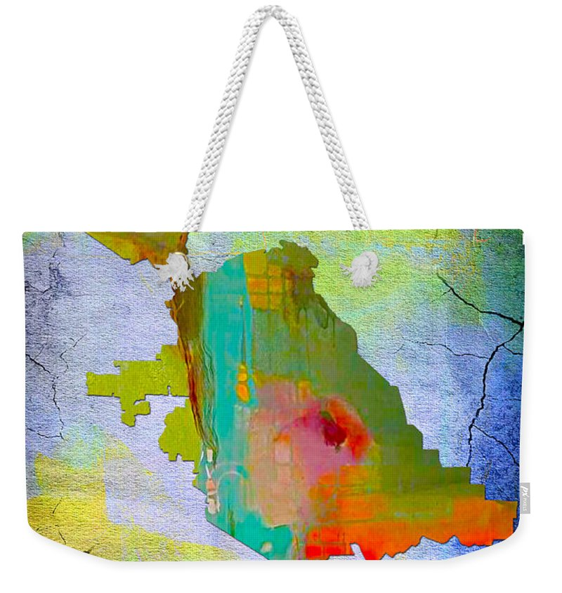 San Jose Art Weekender Tote Bag featuring the mixed media San Jose Map And Skyline by Marvin Blaine