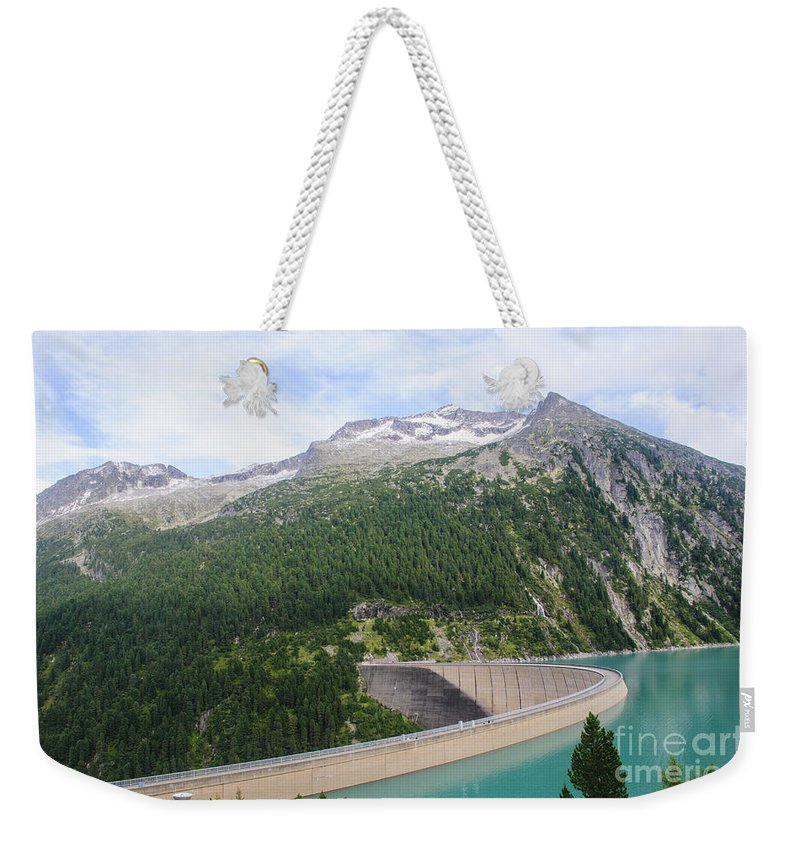 Austria Weekender Tote Bag featuring the photograph Schlegeis Dam And Reservoir by Ilan Rosen