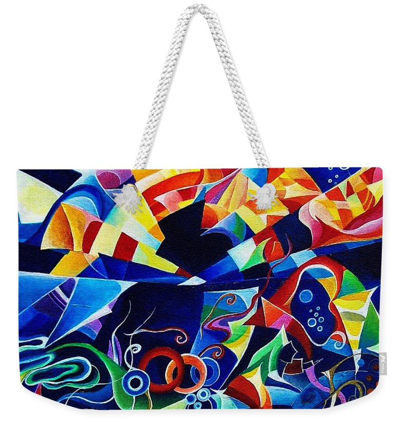 Alexander Scriabin Piano Sonata No.10 Acrylic Abstract Music Weekender Tote Bag featuring the painting Scriabin by Wolfgang Schweizer