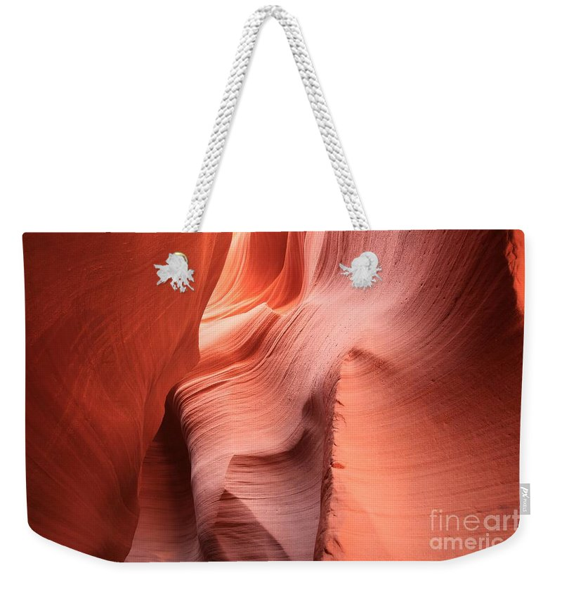 Arizona Slot Canyon Weekender Tote Bag featuring the photograph Sea Of Sandstone by Adam Jewell