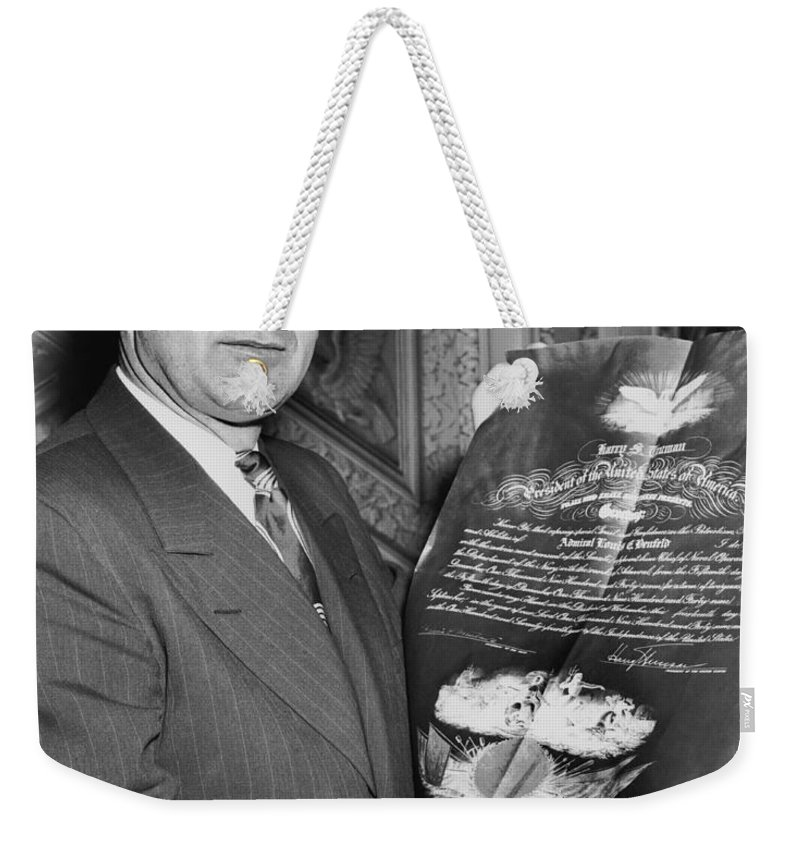 1950 Weekender Tote Bag featuring the photograph Senator Joseph R. Mccarthy by Underwood Archives